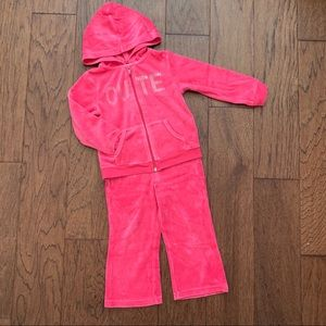 Toddler pink velour tracksuit